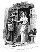 Chiromancy: Country girl having her hand read by an itinerant fortune teller who sees misfortunes ahead. Illustration by William Marshall Craig (c1765-c1834). Engraving.
