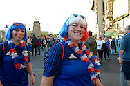 French supporters outside Twickenham before k/o. Rugby World Cup 2015 pool D match, France v Italy at Twickenham Stadium in London on Saturday 19th September 2015.<br /> pic by John Patrick Fletcher, Andrew Orchard sports photography.