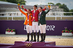 Podium: 1 Guerdat Steve (SUI), 2 Schroder Gerco (NED), 3 O' Connor Cian (IRL)<br /> Olympic Games London 2012<br /> © Dirk Caremans