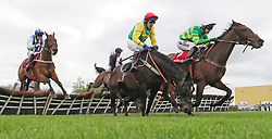 Unowhatimeanharry ridden by Mark Walsh jumps the last to win The Ladbrokes Champion Stayers Hurdle during day three of the Punchestown Festival at Punchestown Racecourse, County Kildare, Ireland.