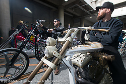 "Andy Carter on his 2015 HD Evo Sportster ""BIG BROTHER"" just before the Grand Entry into the Mooneyes Yokohama Hot Rod & Custom Show. Yokohama, Japan. December 6, 2015.  Photography ©2015 Michael Lichter."