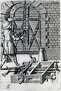 Using expanding screw-driven device to force the bolt on a heavy gate.   Engraving, 1620.