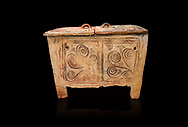 Minoan  pottery larnax coffin chest with fstylised floral decorations,  Episkopi-Lerapetra 1350-1250 BC, Heraklion Archaeological  Museum, black background. .<br /> <br /> If you prefer to buy from our ALAMY PHOTO LIBRARY  Collection visit : https://www.alamy.com/portfolio/paul-williams-funkystock/minoan-art-artefacts.html . Type -   Heraklion   - into the LOWER SEARCH WITHIN GALLERY box. Refine search by adding background colour, place, museum etc<br /> <br /> Visit our MINOAN ART PHOTO COLLECTIONS for more photos to download  as wall art prints https://funkystock.photoshelter.com/gallery-collection/Ancient-Minoans-Art-Artefacts-Antiquities-Historic-Places-Pictures-Images-of/C0000ricT2SU_M9w