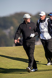 Hugh Grant playing the first hole. Alfred Dunhill Links Championship this morning at Championship Course at Carnoustie.