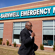 DENMARK, SOUTH CAROLINA - JANUARY 22: United States Congressman, James Clyburn (center), arrives to tour Bamberg-Barnwell Emergency Medical Center in Denmark, SC on January 22, 2020.  The rural medical center was recently the beneficiary of Clyburn's 10-20-30 anti- poverty bill and used the funds to purchase new equipment.  (Photo by Logan CyrusforThe Washington Post)