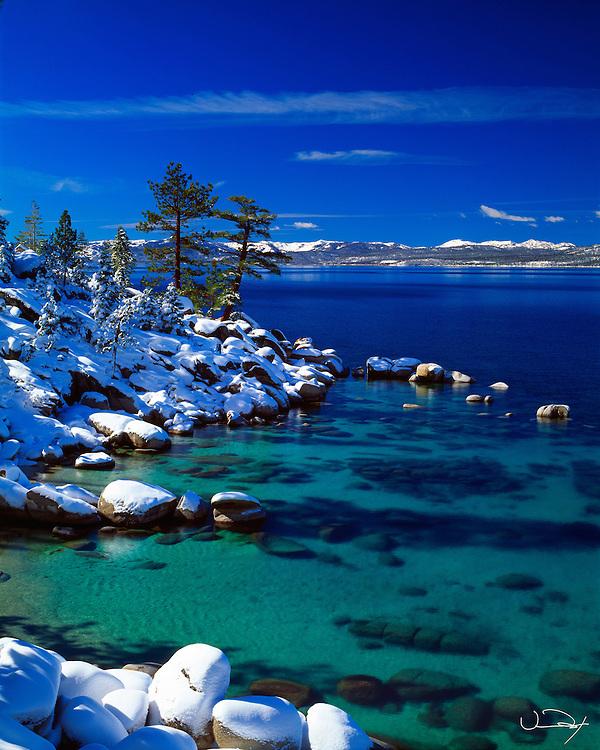 Lake Tahoe Scenic Emerald Waters Winter Lake Tahoe