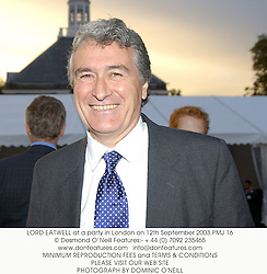 LORD EATWELL at a party in London on 12th September 2003.PMJ 16