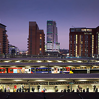 View of Leeds Railway Station at night