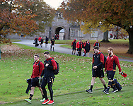 George North of Wales (r front) and Hallam Amos of Wales (l front)  ,  arrive for the Wales rugby team training at the Vale Resort, Hensol, Vale of Glamorgan, in South Wales on Thursday 3rd November 2016, the team are preparing for their match against Australia this weekend. pic by Andrew Orchard, Andrew Orchard sports photography