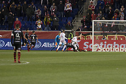 March 13, 2018 - Harrison, New Jersey, United States - Luis Mendoza (26) of Club Tijuana scores goal during Scotiabank Concacaf Champions League quarterfinal second leg game against Red Bulls at Red Bull Arena Red Bulls won 3 - 1  (Credit Image: © Lev Radin/Pacific Press via ZUMA Wire)