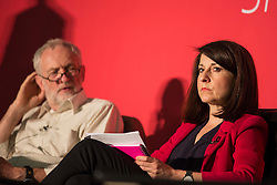 © Licensed to London News Pictures. 11/07/2015. Leeds, UK. Picture shows Liz Kendall. The four Labour party leadership candidates Andy Burnham, Yvette Cooper, Jeremy Corbyn & Liz Kendall have been at Eland Road in Leeds for local Hustings as part of the election campaign. Photo credit : Andrew McCaren/LNP
