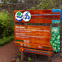 South America, Ecuador, Galapagos Islands. Sign at the Charles Darwin Foundation on Santa Cruz Island.