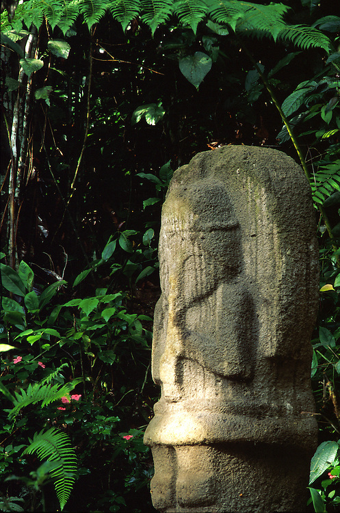 A pre-Columbian stone statue of an angel, San Augustin Archaeological Park,Huila.