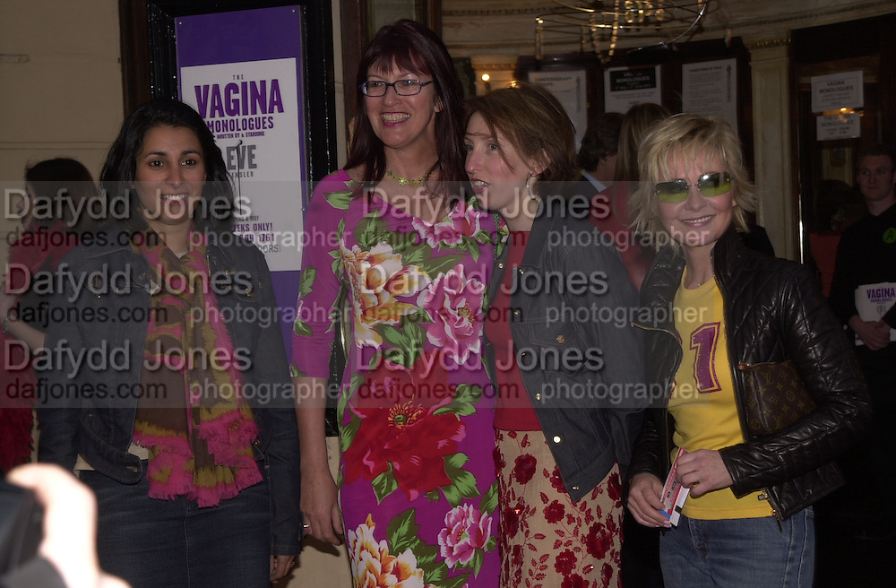 Serena Rees, Janet Street-Porter, Sam Taylor-Wood and Lulu. The Vagina Monologues first night at the New Ambassador Theatre and afterwards at the ivy. © Copyright Photograph by Dafydd Jones 66 Stockwell Park Rd. London SW9 0DA Tel 020 7733 0108 www.dafjones.com