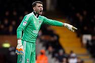 Marcus Bettinelli , the goalkeeper of Fulham in action. EFL Skybet championship match, Fulham v Barnsley at Craven Cottage in London on Saturday 23rd December 2017<br /> pic by Steffan Bowen, Andrew Orchard sports photography.
