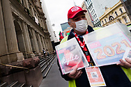 David is seen selling copies of The Big Issue in Bourke Street during the COVID-19 in Melbourne. With over a week of zero cases in Victoria, Premier Daniel Andrews is expected to make major announcements on Sunday about further easing of restrictions. (Photo by Dave Hewison/Speed Media)