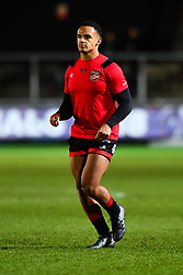 Dragons' Ashton Hewitt during the pre match warm up<br /> <br /> Photographer Craig Thomas/Replay Images<br /> <br /> EPCR Champions Cup Round 3 - Newport Gwent Dragons v Newcastle Falcons - Saturday 15th December 2017 - Rodney Parade - Newport<br /> <br /> World Copyright © 2017 Replay Images. All rights reserved. info@replayimages.co.uk - www.replayimages.co.uk