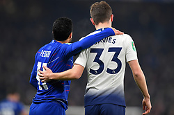 January 24, 2019 - London, England, United Kingdom - a nice touch during the game from Chelsea midfielder Pedro and Tottenham defender Ben Davies during the Carabao Cup match between Chelsea and Tottenham Hotspur at Stamford Bridge, London on Thursday 24th January 2019. (Credit Image: © Mark Fletcher/NurPhoto via ZUMA Press)
