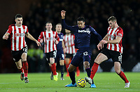 Sheffield United's Jack O'Connell vies for possession with West Ham United's Sebastien Haller <br /> <br /> Photographer Rich Linley/CameraSport<br /> <br /> The Premier League - Sheffield United v West Ham United - Friday 10th January 2020 - Bramall Lane - Sheffield <br /> <br /> World Copyright © 2020 CameraSport. All rights reserved. 43 Linden Ave. Countesthorpe. Leicester. England. LE8 5PG - Tel: +44 (0) 116 277 4147 - admin@camerasport.com - www.camerasport.com
