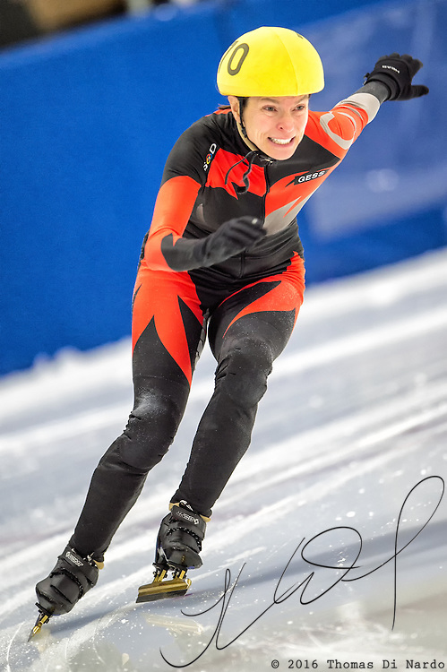 March 18, 2016 - Verona, WI - Janet Naess, skater number 70 competes in US Speedskating Short Track Age Group Nationals and AmCup Final held at the Verona Ice Arena.