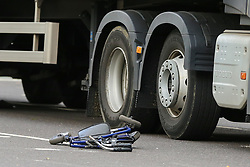 © Licensed to London News Pictures. 26/08/2020. London, UK. The victims walking frame is near the wheels of a heavy goods vehicle outside Manor House underground station on Green Lanes, north London following an accident with an elderly man. An elderly man was seen crossing the road when he was hit by the lorry and died at the scene. Green Lanes and Seven Sisters Road are closed due to the accident. Photo credit: Dinendra Haria/LNP