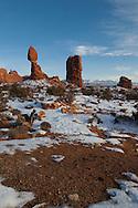 Balanced Rock, La Sal Mountains, Arches National Park, Utah, winter