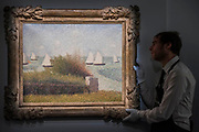 Le Rade de Grandcamp, 1885, by Georges Seurat, est on request - Christie's unveil an exhibition of touring highlights from the Collection of Peggy and David Rockefeller, ahead of the New York sales (w/c 7 May).  they will be on public view in London from 21 February to 8 March.