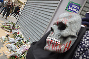 Day of the Dead skull with flowers at 'Le Petit Cambodge' restaurant rue Bichat<br />
