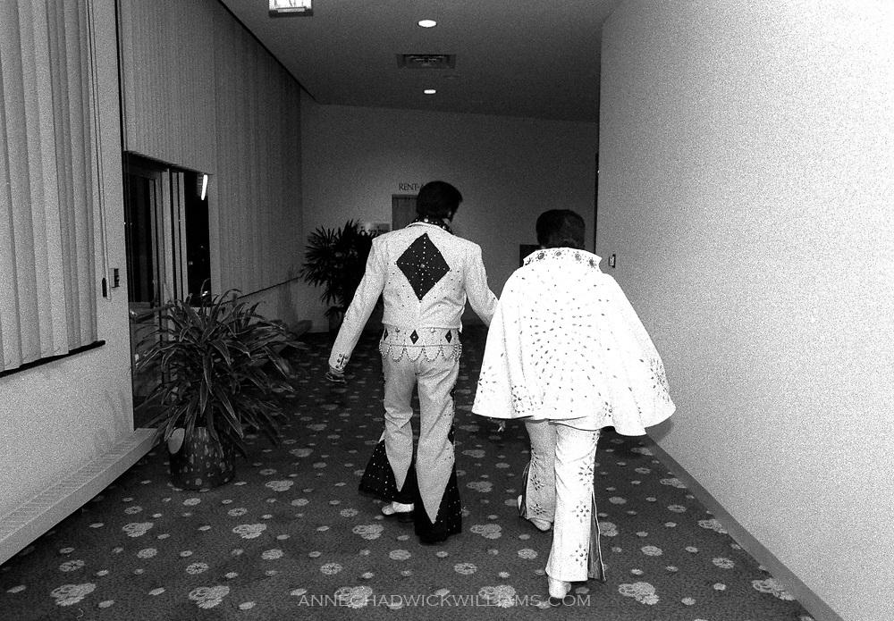 Elvis Presley impersonators compete at an Elvis impersonators convention in Chicago.