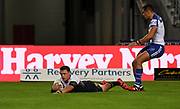 Scott Drinkwater scores a try.<br /> North Queensland Cowboys v Canterbury-Bankstown Bulldogs, Round 2 of the Telstra Premiership Rugby League season on Thursday 19th March 2020.<br /> Copyright photo: © NRL Photos 2020