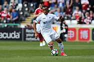 Jordan Ayew of Swansea city in action. Premier league match, Swansea city v Middlesbrough at the Liberty Stadium in Swansea, South Wales on Sunday 2nd April 2017.<br /> pic by Andrew Orchard, Andrew Orchard sports photography.