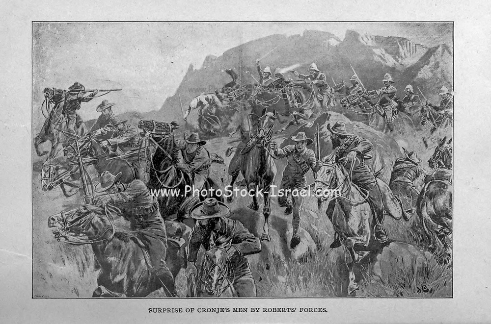 Surprise of Cronje's Men by Roberts' Forces from the book ' Boer and Britisher in South Africa; a history of the Boer-British war and the wars for United South Africa, together with biographies of the great men who made the history of South Africa ' By Neville, John Ormond Published by Thompson & Thomas, Chicago, USA in 1900