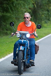 Fred Lange riding his 1929 Harley-Davidson JDH during stage 1 of the Motorcycle Cannonball Cross-Country Endurance Run, which on this day ran from Daytona Beach to Lake City, FL., USA. Friday, September 5, 2014.  Photography ©2014 Michael Lichter.