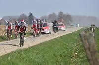 Team Katusha (Rus)/ KRISTOFF Alexander (NOR)/ PAOLINI Luca (ITA)/ HALLER Marco (AUT)/ PORSEV Alexander (RUS)/ GUARNIERI Jacopo (ITA)/ SMUKULIS Gatis (LAT) training on april 9 prior to the famous cycling race Paris Roubaix with paving stones paths which will take place on april 12, 2015 - Photo Tim de Waele / DPPI