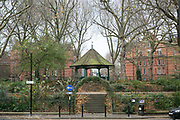 Arnold Circus on 18th November 2015 In East London, United Kingdom. Arnold Circus is a roundabout with a bandstand in the middle. It is surrounded by the Boundary Estate, a large housing development, formally opened in 1900, in the East End of London, England.