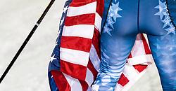 23.02.2017, Lahti, FIN, FIS Weltmeisterschaften Ski Nordisch, Lahti 2017, Damen Langlauf, 5km Sprint, im Bild Teilansicht von Bronze Medaillengewinnerin Kikkan Randall (USA) mit einer Fagge der Vereiningten Staaten von Amerika // Detail view of Bronze Medalist Kikkan Randall (USA) holds a Flag of the United States during Ladies Cross Country Sprint of FIS Nordic Ski World Championships 2017. Lahti, Finland on 2017/02/23. EXPA Pictures © 2017, PhotoCredit: EXPA/ JFK