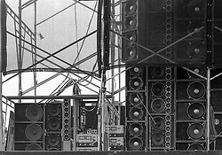 Jerry's Amps, Speakers and Things when playing The Wall of Sound. The Grateful Dead play Dillon Stadium on 31 July 1974. B&W Photograph taken with a Nikon FTn Camera and Tri-X film.