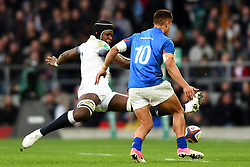 November 25, 2017 - London, England, United Kingdom - England's Maro Itoje uses his feet to block Tim Nanai-Williams of Samoa during Old Mutual Wealth Series between England against Samoa at Twickenham stadium , London on 25 Nov 2017  (Credit Image: © Kieran Galvin/NurPhoto via ZUMA Press)