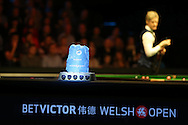 Neil Robertson of Australia keeps his eye on the trophy during the final against Ronnie O'Sullivan.  Betvictor Welsh Open snooker 2016, Final day at the Motorpoint Arena in Cardiff, South Wales on Sunday 21st  Feb 2016.  <br /> pic by Andrew Orchard, Andrew Orchard sports photography.
