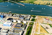 Nederland, Noord-Holland, Amsterdam, 29-06-2018; <br /> Zeeburgereiland met de silo's van de voormalige rioolwaterzuivering. Stadsontwikkelingsgebied met onder andere zelfbouw kavels. Zeeburgertunnel. <br /> Island Zeeburg, new city quarter in developement<br /> <br /> luchtfoto (toeslag op standard tarieven);<br /> aerial photo (additional fee required);<br /> copyright foto/photo Siebe Swart