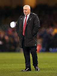 Wales head coach Warren Gatland prior to the NatWest 6 Nations match at the Principality Stadium, Cardiff.