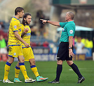 Stevie May of Sheffield Wednesday is warned by referee Mr Graham Salisbury for his challanges on goalkeeper Alex Smithies of Huddersfield during the Sky Bet Championship match at the John Smiths Stadium, Huddersfield<br /> Picture by Graham Crowther/Focus Images Ltd +44 7763 140036<br /> 22/11/2014