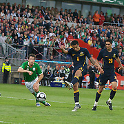 Tim Cahill scores Australia's second goal after pouncing on a loose ball following a shot from team mate Rhys Williams (20)  during the friendly International between Ireland and Australia at Thomond Park, Limerick, Ireland, Wednesday, August 12, 2009. Photo Tim Clayton.