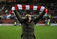 Football - League Two - Swindon Town vs. Torquay United<br /> Paolo Di Canio manager of Swindon Town celebrates his teams win at the County Ground, Swindon