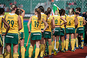 South Africa line up before taking the field for their match against Italy during the Investec Hockey World League Semi Final 2013, the Quintin Hogg Memorial Sports Ground, University of Westminster, London, UK on 27 June 2013. Photo: Simon Parker