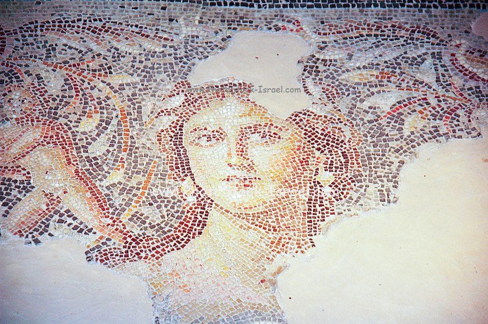 Israel, Galilee, Zippori National Park A mishnaic-period city with an abundance of mosaics portrait of the Mona Lisa of the Galilee on the mosaic floor at the third century Roman villa