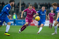 Arbroath's Danny Denholm and Montrose Patrick Cregg. Arbroath 2 v 0 Montrose, Scottish Football League Division One played 10/11/2018 at Arbroath's home ground, Gayfield Park.