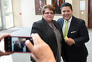 Houston ISD Superintendent Richard Carranza poses for a photograph with HCC Southwest president Madeline Burillo during a breakfast held by Southwest Houston 2000, Inc. at Houston Baptist University, September 13, 2016.