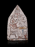 """Ancient Egyptian Ra stele , limestone, New Kingdom, 19th Dynasty, (1279-1190 BC), Deir el-Medina,  Egyptian Museum, Turin. black background<br /> <br /> Akh iqer en Ra """" the excellent spirit of Ra' stele. The individual is smelling a lotus flower. One of three stele forund in different rooms of houses in Deir el-Medina where they stood in niches. .<br /> <br /> If you prefer to buy from our ALAMY PHOTO LIBRARY  Collection visit : https://www.alamy.com/portfolio/paul-williams-funkystock/ancient-egyptian-art-artefacts.html  . Type -   Turin   - into the LOWER SEARCH WITHIN GALLERY box. Refine search by adding background colour, subject etc<br /> <br /> Visit our ANCIENT WORLD PHOTO COLLECTIONS for more photos to download or buy as wall art prints https://funkystock.photoshelter.com/gallery-collection/Ancient-World-Art-Antiquities-Historic-Sites-Pictures-Images-of/C00006u26yqSkDOM"""