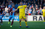Wimbledon forward James Hanson (18)  during the EFL Sky Bet League 1 match between Scunthorpe United and AFC Wimbledon at Glanford Park, Scunthorpe, England on 30 March 2019.